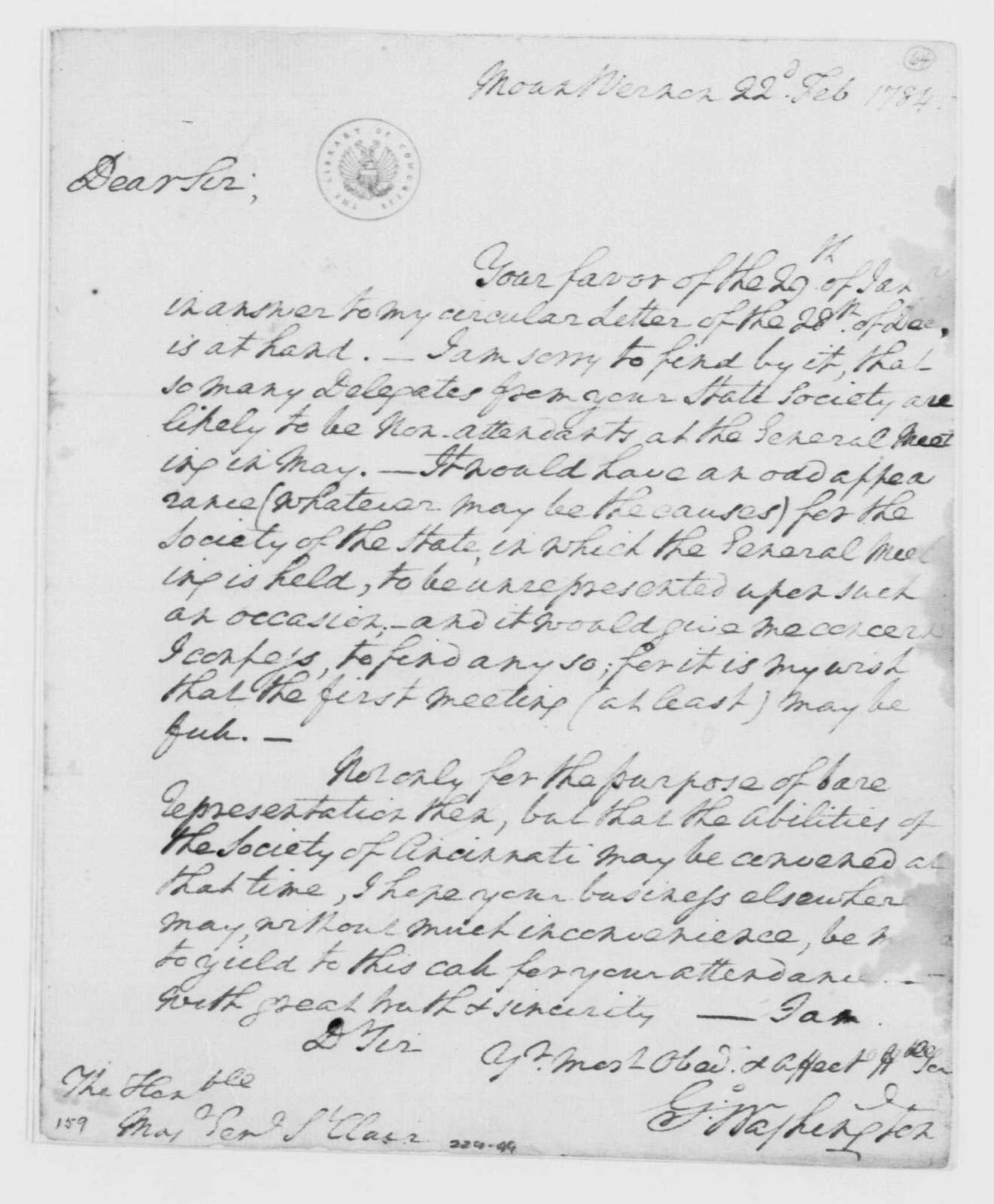 George Washington Papers, Series 4, General Correspondence: George Washington to Arthur St. Clair, February 22, 1784