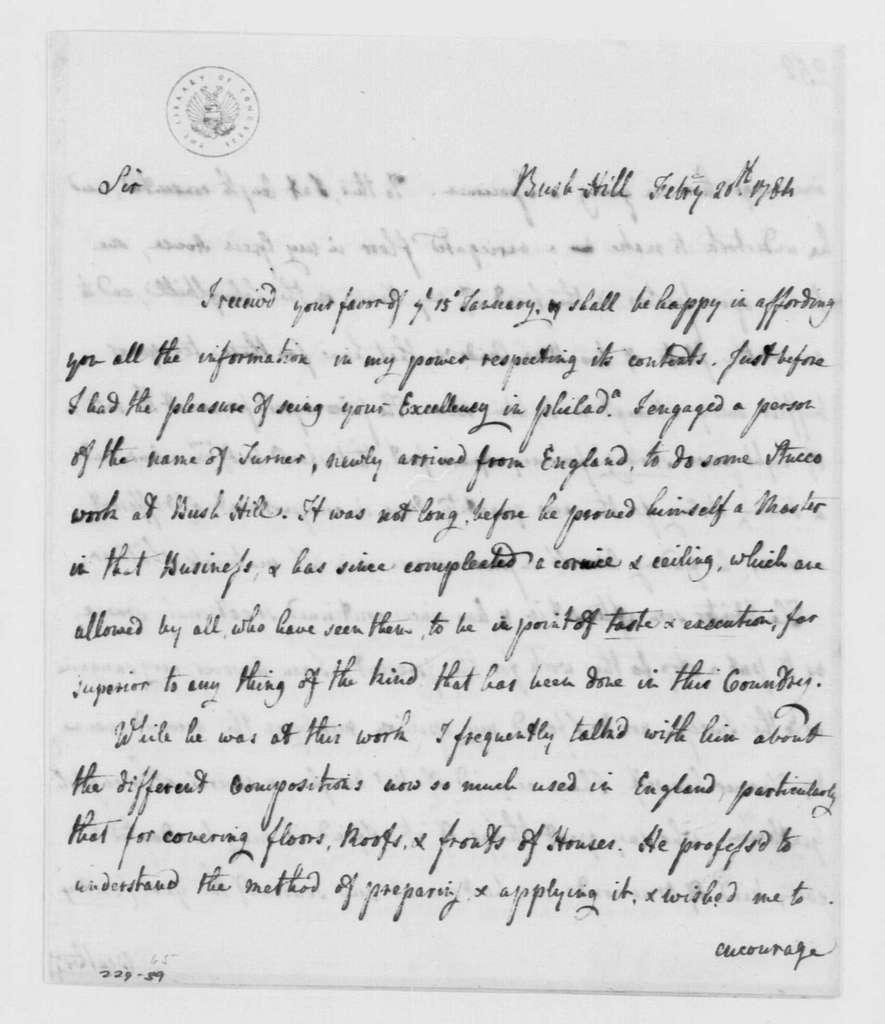 George Washington Papers, Series 4, General Correspondence: William Hamilton to George Washington, February 20, 1784