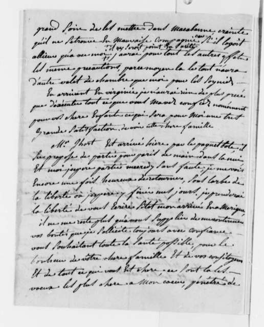 Jacques Le Maire to Thomas Jefferson, November 15, 1784, in French