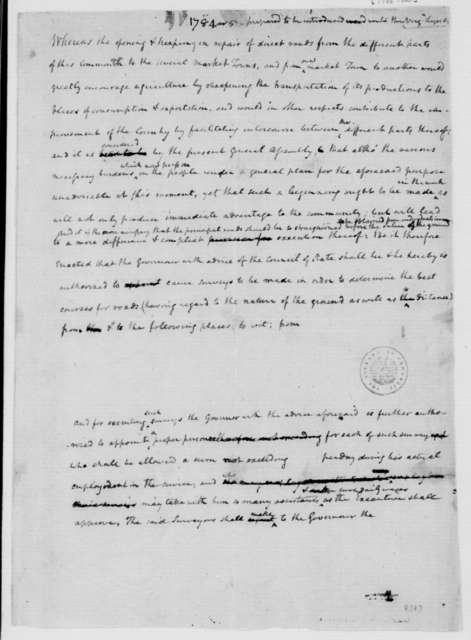 James Madison. Resolution and Notes on Opening and Repair of Roads. 1784-85.