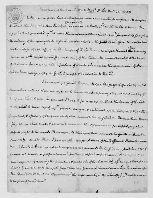 James Madison to Richard Henry Lee, December 25, 1784. Extract.