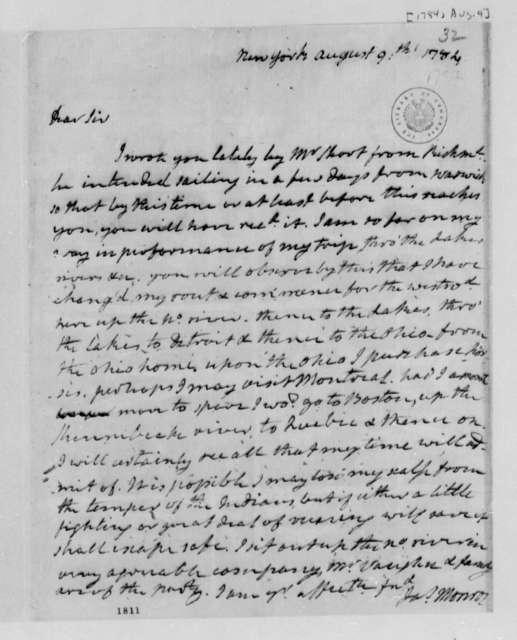 James Monroe to Thomas Jefferson, August 9, 1784
