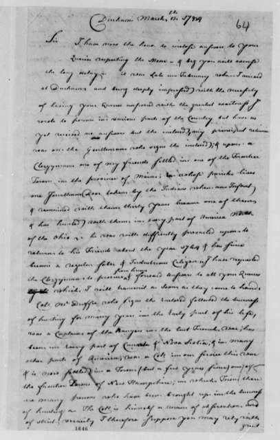 John Sullivan to Thomas Jefferson, March 12, 1784, with John McDuffee's Answers to Jefferson's Questions on the Moose