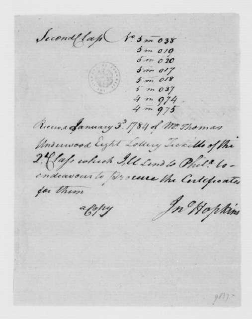 Jonathan Hopkins to Thomas Underwood, January 3, 1784. Receipt for Lottery Tickets.