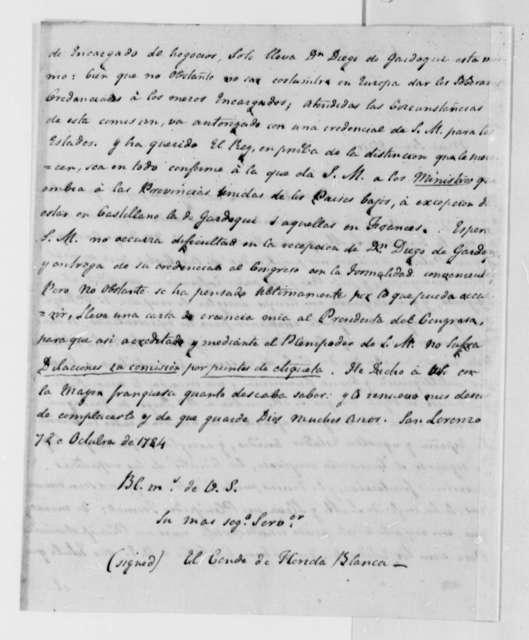 Jose Monino, Conde de Floridablanca to William Carmichael, October 7, 1784, in Spanish