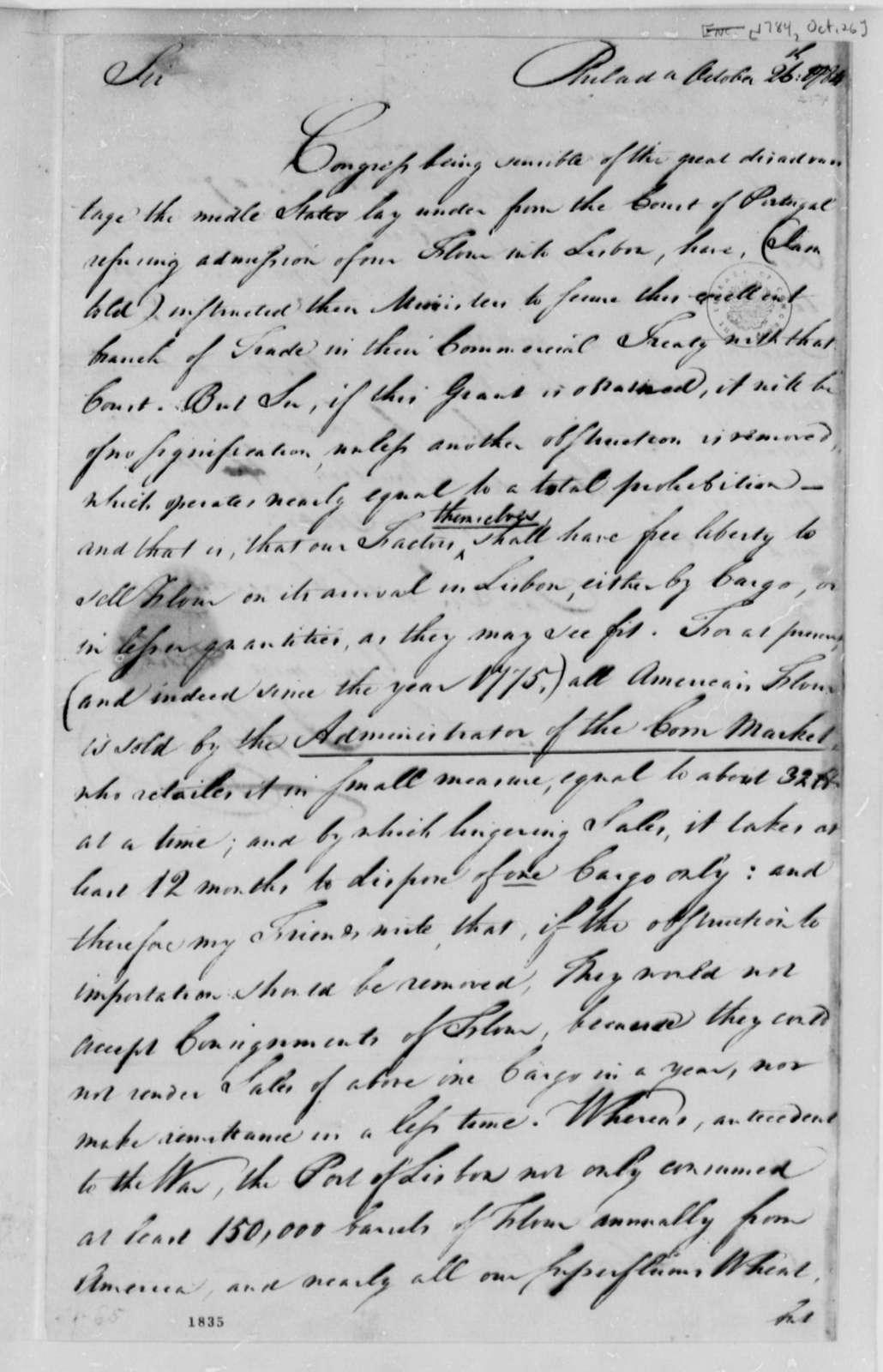 Joseph Wharton to Charles Thomson, October 26, 1784