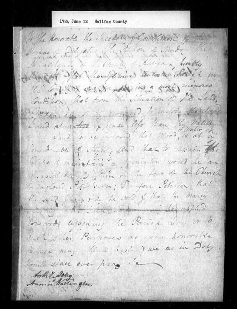 June 12, 1784, Halifax, Antrim Parish, for sale of glebe.