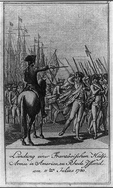 Landung einer Französischen Hülfs-Armee in America, zu Rhode Island, am 11ten Julius 1780 / D. Chodowiecki del. et sculp.