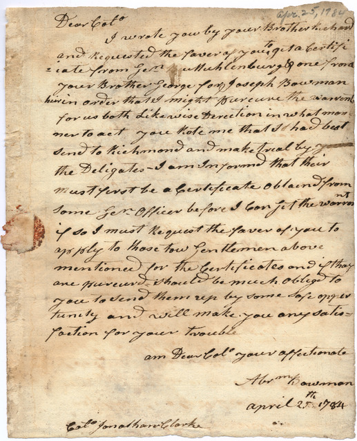 Letter from Abraham Bowman to Jonathan Clark