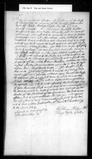 May 26, 1784, King and Queen, Baptists, against religious distinctions.