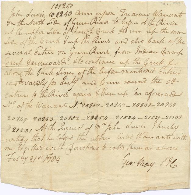 Memorandum of Jefferson County treasury warrant entries for John Lewis