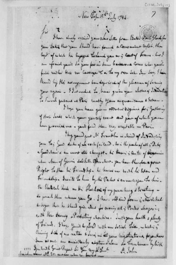 Michel Guillaume Jean de Crevecoeur (John Hector St. John) to Thomas Jefferson, July 15, 1784