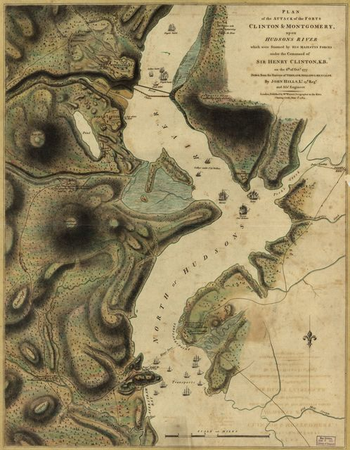 Plan of the attack of the Forts Clinton & Montgomery, upon Hudsons River, which were stormed by His Majesty's forces under the command of Sir Henry Clinton, K.B., on the 6th of Octr. 1777.