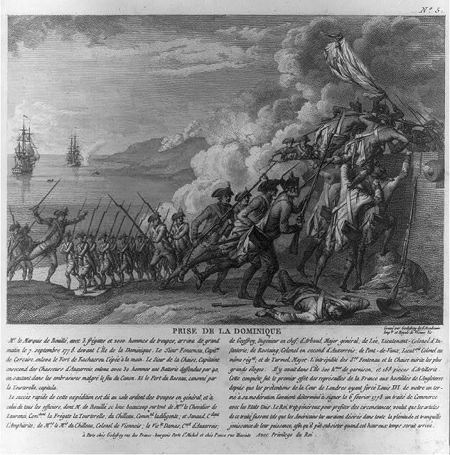 Prise de la Dominique / gravé par Godefroy de l'Académie Imple. et Royale de Vienne &c.