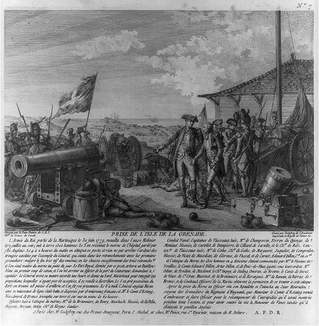 Prise de l'isle de la Grenade / dessiné par le Paon peintre de S.A.S. Mgr. le Prince de Condé ; gravé par Godefroy de l'Académie Impèriale et Royale de Vienne &c.