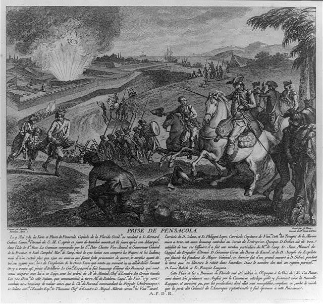 Prise de Pensacola / dessiné par Lausan. Berteaux, aqua. ; gravé par N. Ponce, graveur de Mgr. Comte d'Artois.