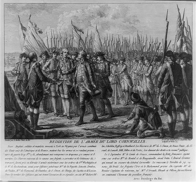 Reddition de l'armée du Lord Cornwalis / dessiné par le Barbier peintre du roi ; gravé par Godefroy de l'Academie Imple. et Royale de Vienne &c.