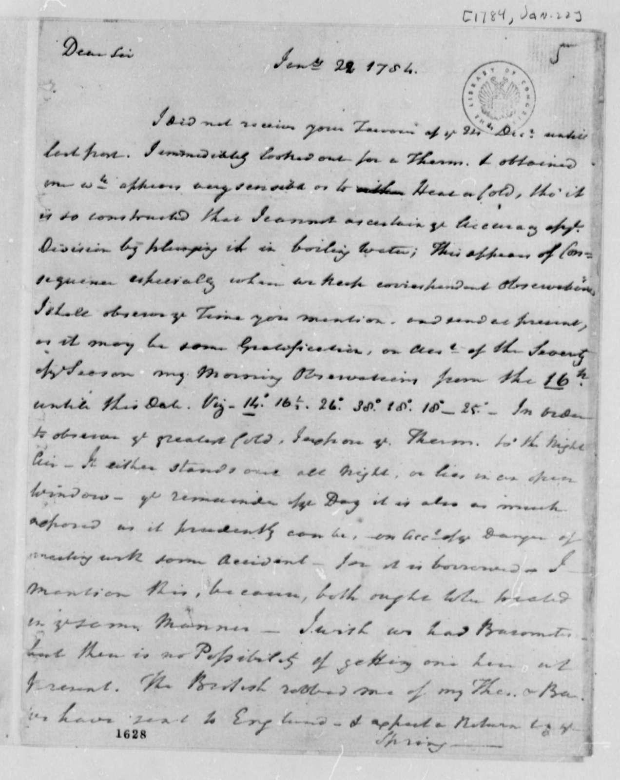 Reverend James Madison to Thomas Jefferson, January 22, 1784