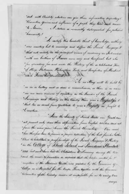 Rhode Island College to Louis XVI, King of France, January 9, 1784, Petition Soliciting Patronage
