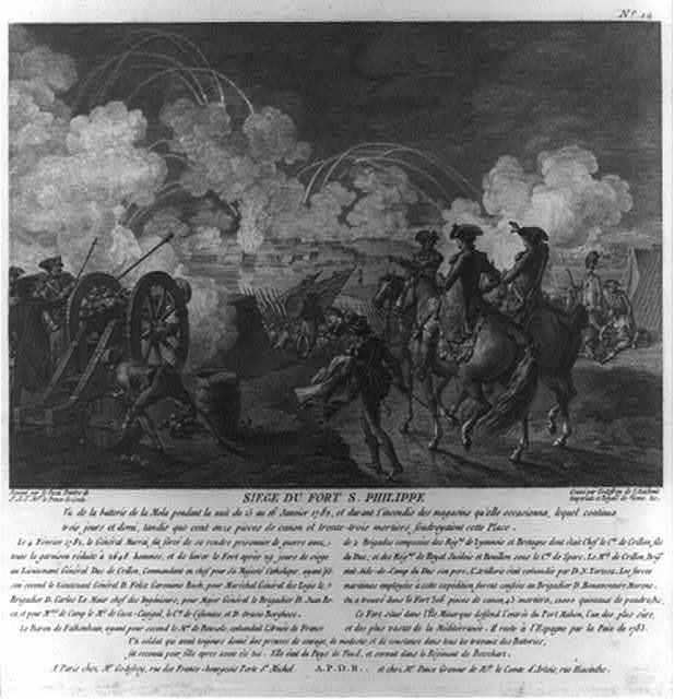 Siege du Fort S. Philippe / dessiné par le Paon peintre de S.A.S. Mgr. le Prince de Conde ; gravé par Godefroy de l'Académie Impèriale et Royale de Vienne &c.