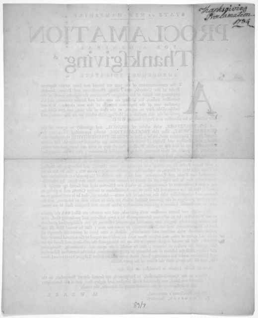 State of New-Hampshire. A proclamation for a general thanksgiving throughout this State. ... I do therefore, with advice of Council, and agreeably to a vote of the General-Court, issue this proclamation hereby appointing Thursday the second day