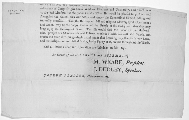 State of New-Hampshire. A proclamation for a public fast. Inasumuch as it is our duty to acknowledge our constant dependence on the Supreme ruler of the Universe ... The Council and House of representatives of the State of New-Hampshire in Gener