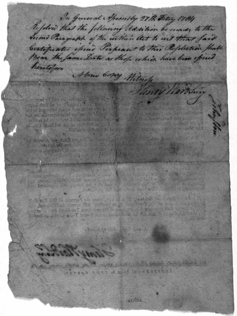State of Rhode Island and Providence plantations. In General Assembly, February session, 1784. Whereas the general-treasurer hath represented to this Assembly, that he hath issued certificates for interest on loan-office certificates, pursuant t