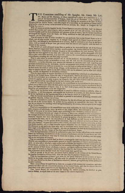 The committee consisting of Mr. Spaight, Mr. Gerry, Mr. Lee, Mr. Beatty and Mr. Sherman, to whom was referred a report of a committee on a report of the superintendant of finance, dated the 5th of November 1783, in answer to questions proposed by the commissioner for settling the accounts of the state of Pennsylvania with the United States, and also a report of a committee on the petition of James Smith, praying for a sum of money to be advanced to him on account, &c. submit to Congress the following report ...