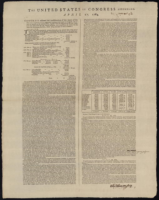The United States in Congress assembled. April 27, 1784 : Congress resumed the consideration of the report of the grand committee appointed to prepare and report to Congress, the arrears of interest on the national debt, together with the expences for the year 1784 ...