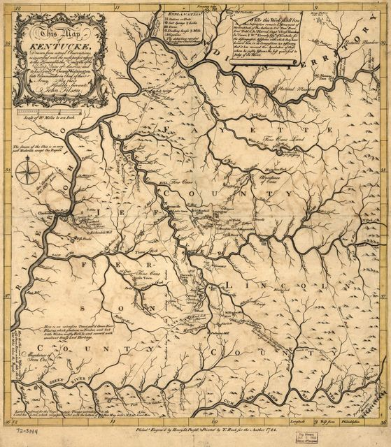 This map of Kentucke, drawn from actual observations, is inscribed with the most perfect respect, to the Honorable the Congress of the United States of America; and to His Excellcy. George Washington, late Commander in Chief of their Army.