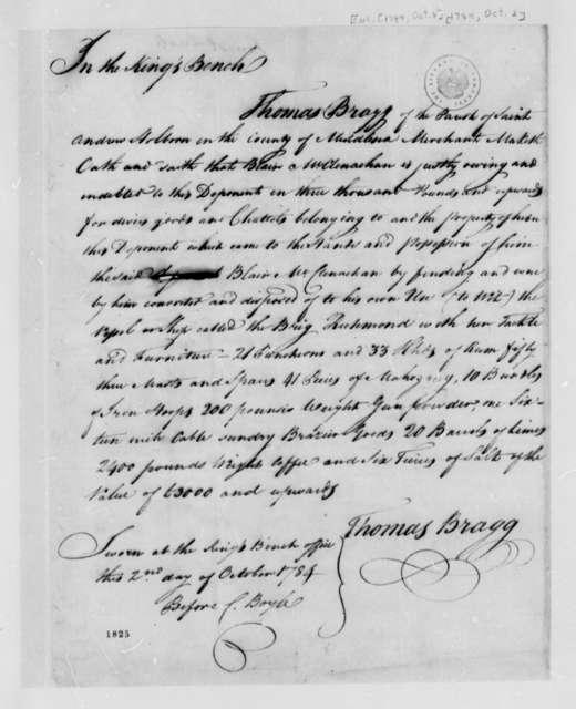 Thomas Bragg Blair McClenachan, October 2, 1784