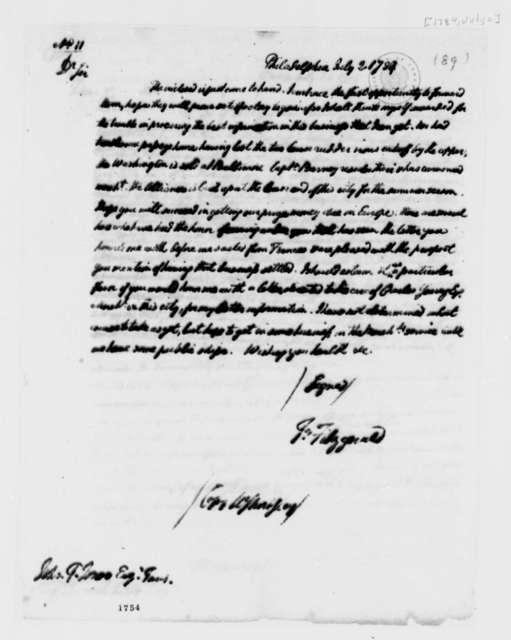 Thomas Fitzgerald to John Paul Jones, July 2, 1784