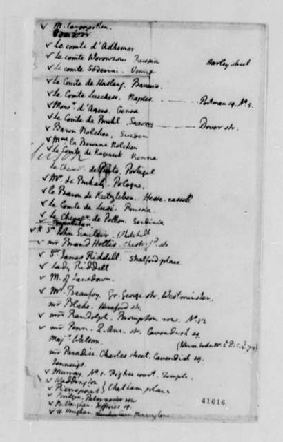 Thomas Jefferson, 1784-89, Lists of European Foreign Diplomats in London