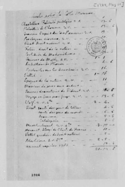 Thomas Jefferson, May 10, 1784, Account of Books Sold to James Monroe