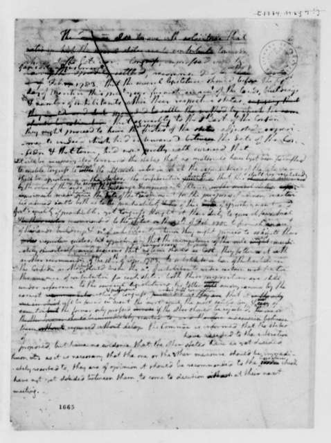 Treasury Department Grand Committee, March 1784, Thomas Jefferson's Draft of Report on Arrears of Interest on the National Debt; Incomplete