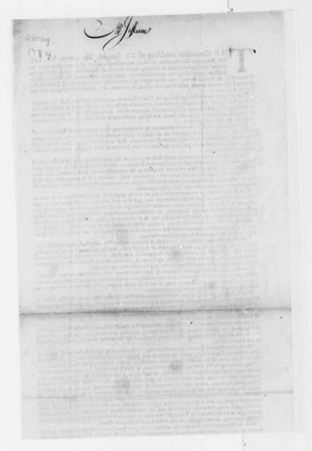 United States Congress Committee, June 3, 1784, Printed Report and Recommendations on Financial Relations with States; Money Owed John Smith