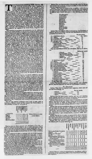 United States Congress Committee on Taking Possession of Frontier Posts, May 6, 1784, Printed Report on Frontier Posts
