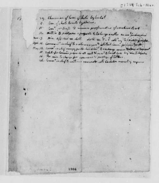 United States Congress, February 3, 1784, Actions on Bills; Notes and Dates