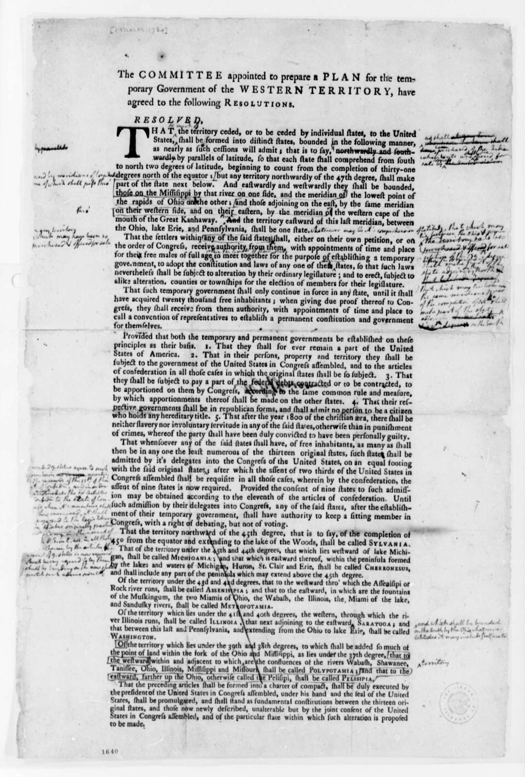 United States Congress, March 1, 1784, Printed Resolution on Western Territory Government; with Notations by Thomas Jefferson