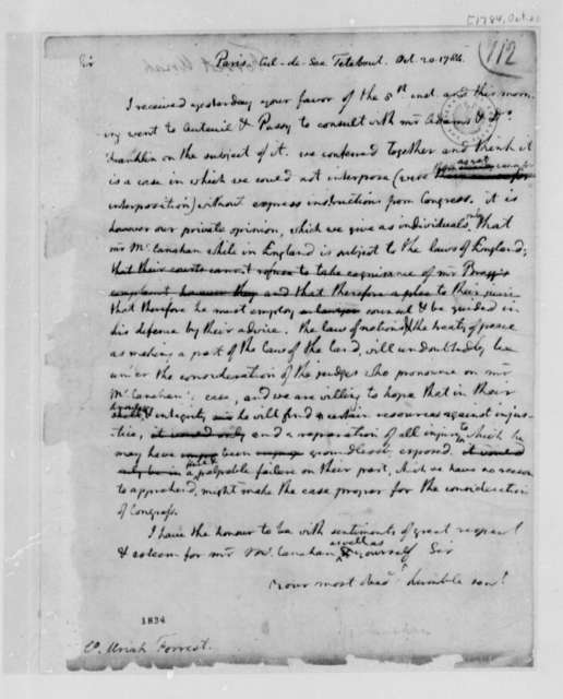 Uriah Forrest to Thomas Jefferson, October 20, 1784