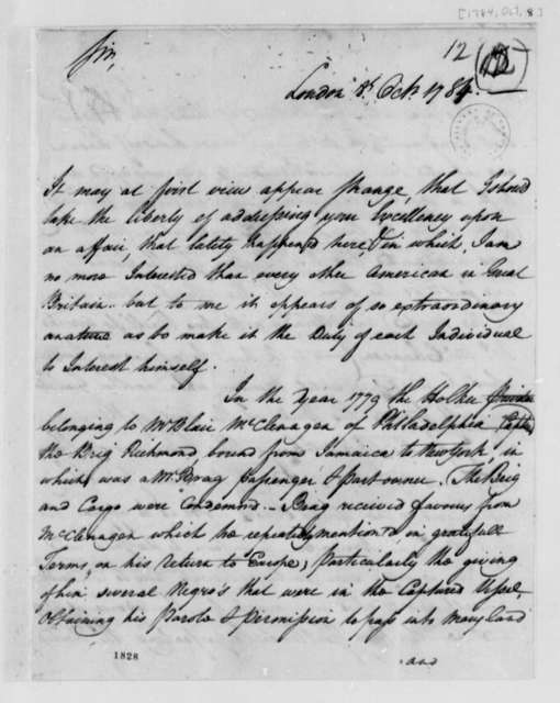 Uriah Forrest to Thomas Jefferson, October 8, 1784, with Deposition