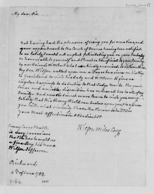 Wilson Miles Cary to Thomas Jefferson, June 4, 1784