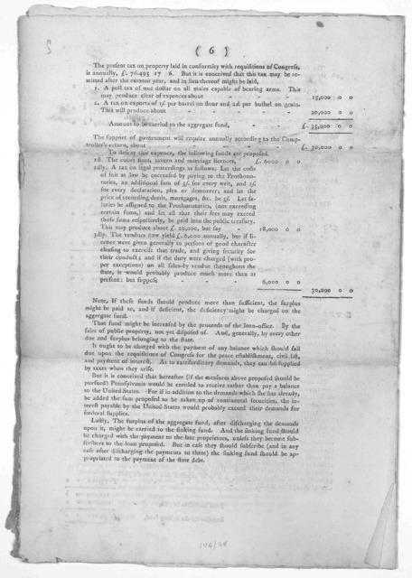 A plan for liquidating certain debts of the state of Pennsylvania, collecting arrearages with greater expedition, restoring confidence in the government, and providing the quota of Federal supplies. [Philadelphia] Printed and sold by R. Aitken M
