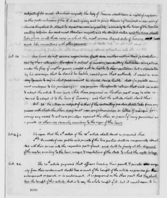 American Peace Commissioners to M. Favi, June 8, 1785, with Thomas Jefferson's Draft of Observations on the Treaty Project