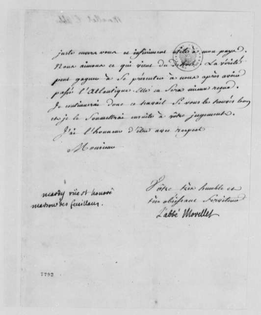 Andre Morellet to Thomas Jefferson, December 1785