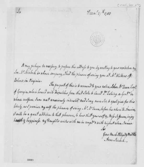 Anne Cleland Kinloch to Thomas Jefferson, December 27, 1785