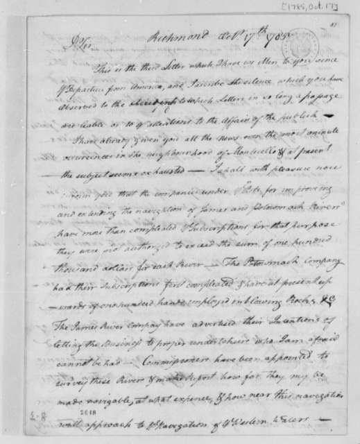 Archibald Stuart to Thomas Jefferson, October 17, 1785