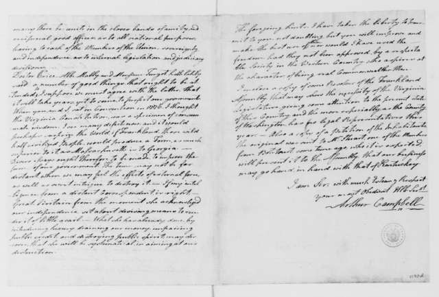 Arthur Campbell to James Madison, October 28, 1785.