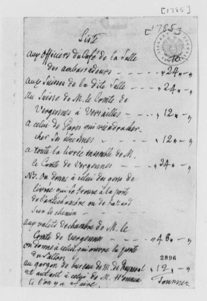 Baron de Etrennes Grimm, 1785, Expense Account; in French