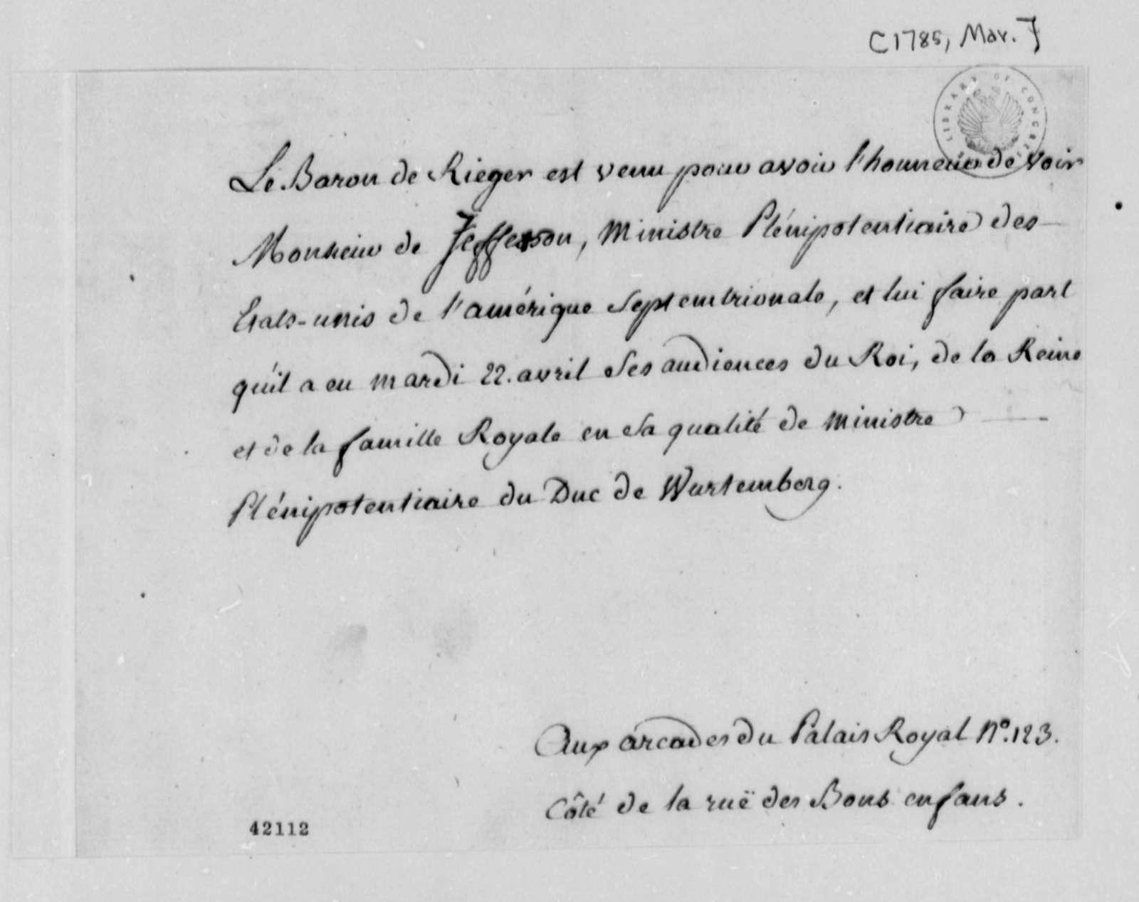 Baron de Rieger to Thomas Jefferson, March 1785